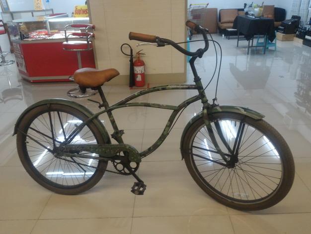 จักรยานครุยเซอร์ สุดคลาสสิค สีเขียวลายพรางทหาร
