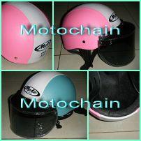 หมวกกันน็อคทรงครึ่งใบ พร้อมหน้าแว่น หุ้มหนัง (Moto)