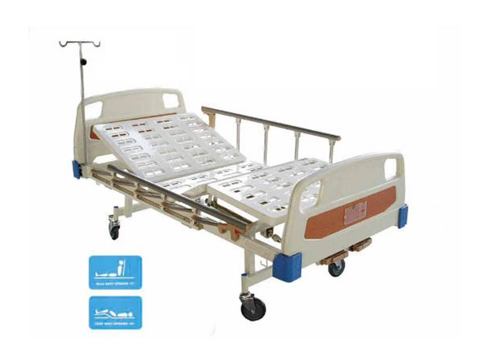 เตียงคนไข้แบบปรับระดับ 2 ไกร์ พื้นเหล็ก