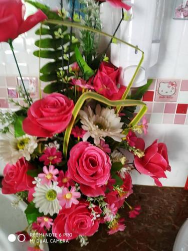 ดอกไม้ประดิษฐ์จากผ้าใยบัว ดอกไม้ดินญี่ปุ่น