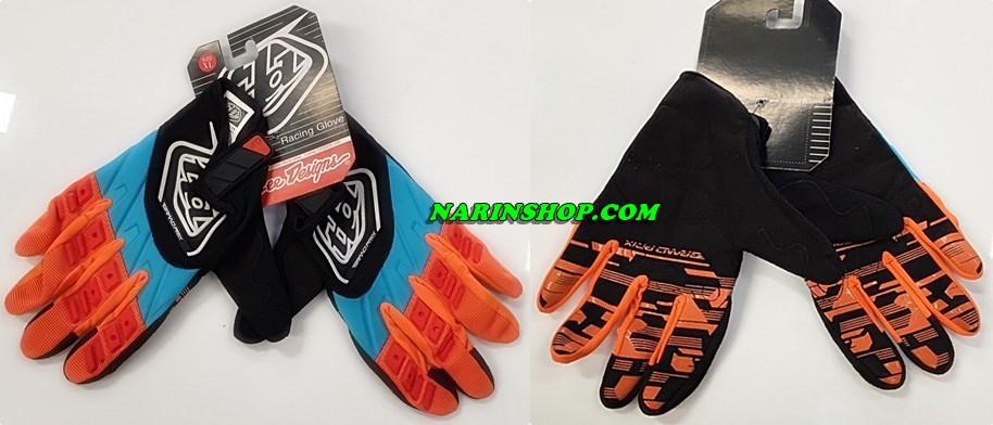 ถุงมือ ยี่ห้อ Troy Lee Designs สีส้ม-ฟ้า-ดำ
