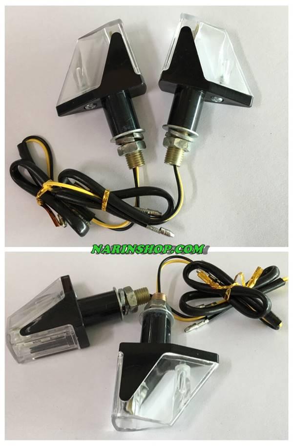 ไฟเลี้ยวแต่ง LED ทรง Robot ฝาใส/หลังดำ