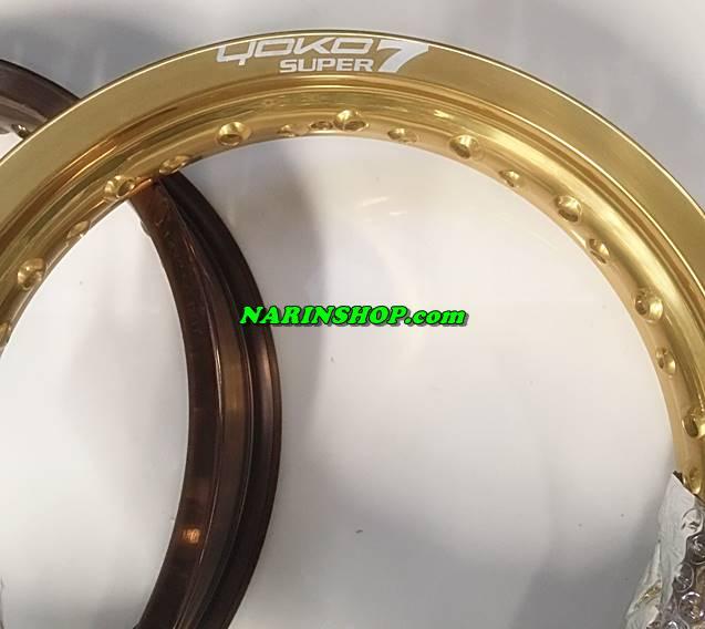 ขอบอลูมิเนียม ยี่ห้อ YOKO Super7 17*3.50(36H) มีสีทองอ่อน,ไททาเนียม