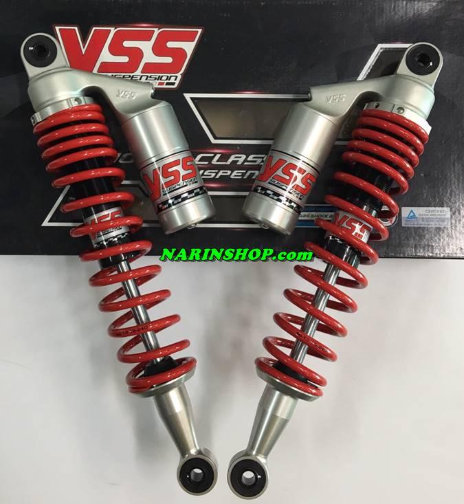 โช้คหลังแต่ง YSS ใส่ Honda Dream Super cub 110i ดำ/แดง มีกระปุก/370mm.