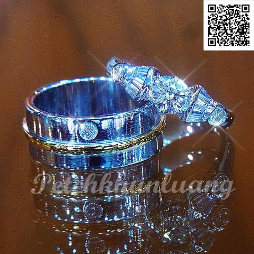 เซ็ตแหวนหมั้น แหวนแต่งงาน ตัวเรือนทองคำขาว สำหรับคุณลูกค้าที่ไม่เน้นเพชรแต่ดีไซน์ เรียบหรู