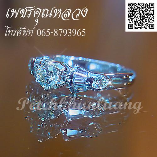 เซ็ตแหวนหมั้น แหวนแต่งงาน ตัวเรือนทองคำขาว สำหรับคุณลูกค้าที่ไม่เน้นเพชรแต่ดีไซน์ เรียบหรู 2