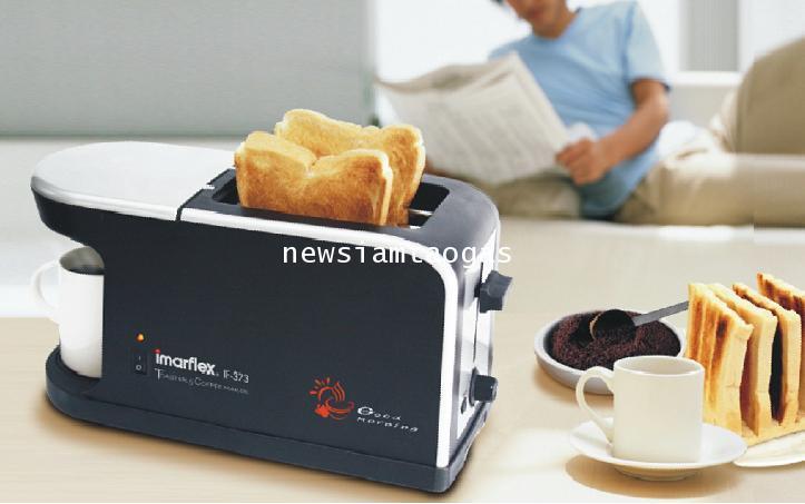 เครื่องปิ้งขนมปังพร้อมเครื่องชงกาแฟ 2in1 ยี่ห้อ imarflex รุ่น IF-373 สามารถชงได้ 1แก้วพร้อมขนมปังปิ้
