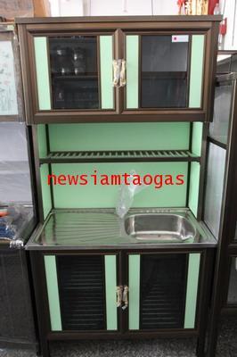 ตู้ครัวมีอ่างล้างจานหน้าสเตนเลส โคลงอลูมีเนียม ผิวโดนน้ำได้ ไม่ขึ้นสนิม ใช้ในครัวเรือน มีหลายไซส์