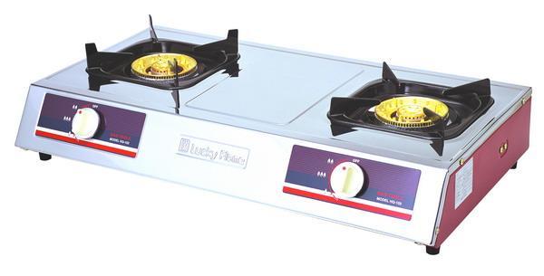 เตาแก๊สตั้งโต๊ะหัวคู่ลัคกี้เฟลมรุ่นhq-102หัวเตาใหญ่เป็นทองเหลืองแท้ไฟแรง ร้อนเร็ว