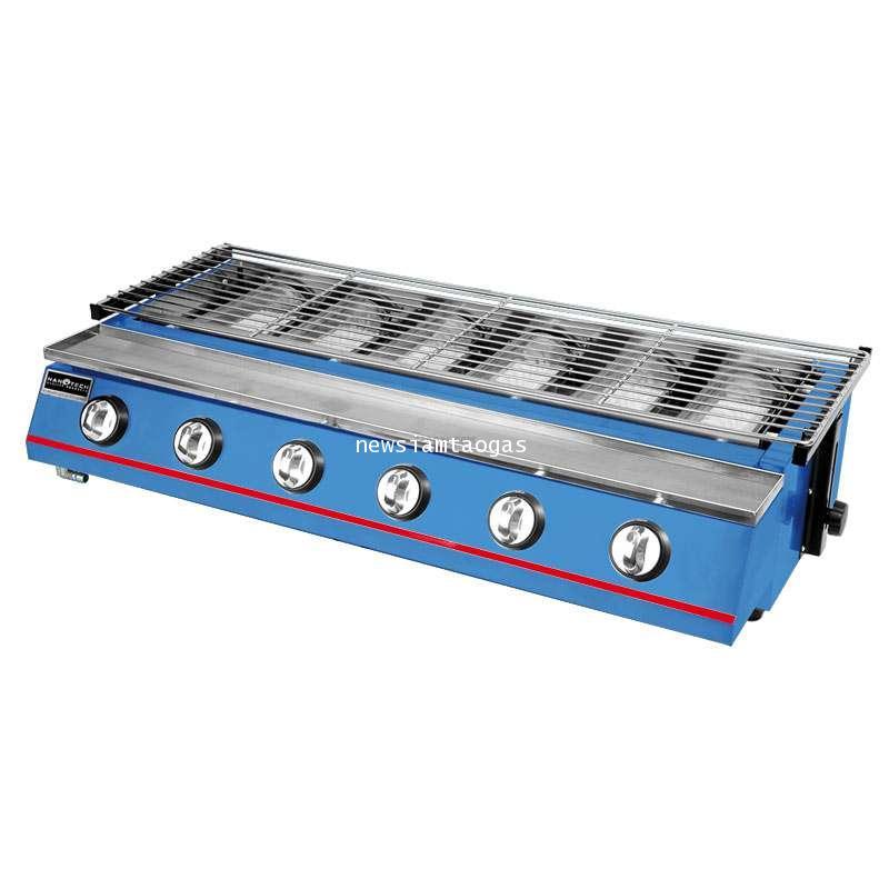 เตาปิ้งย่างระบบแก๊ส LPG รุ่น K233 6หัวเตา เหมาะสำหรับการปิ้งกุ้ง อาหารทะเลเผา ห่อหมก