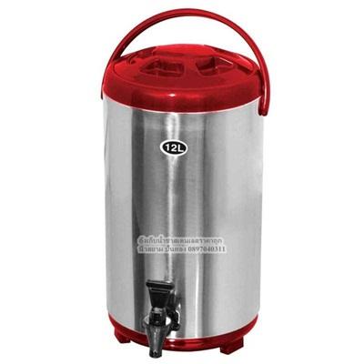 ถังเก็บชานมไข่มุกขนาด 12ลิตร พร้อมก๊อก ยี่ห้อfrykingสเตนเลสทั้งตัว สีแดง