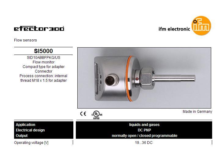 FLOW MONITOR IFM EFECTOR MODEL SI5000