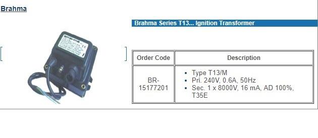 BRAHMA T13IGNITION TRANSFORMER