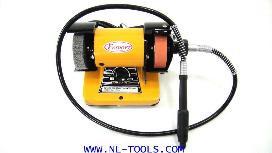 เจียรนัยไฟฟ้าแท่น 3 นิ้ว และสายอ่อน จับแกน 3 mm. FASDOFT  (เครื่องมือช่าง)