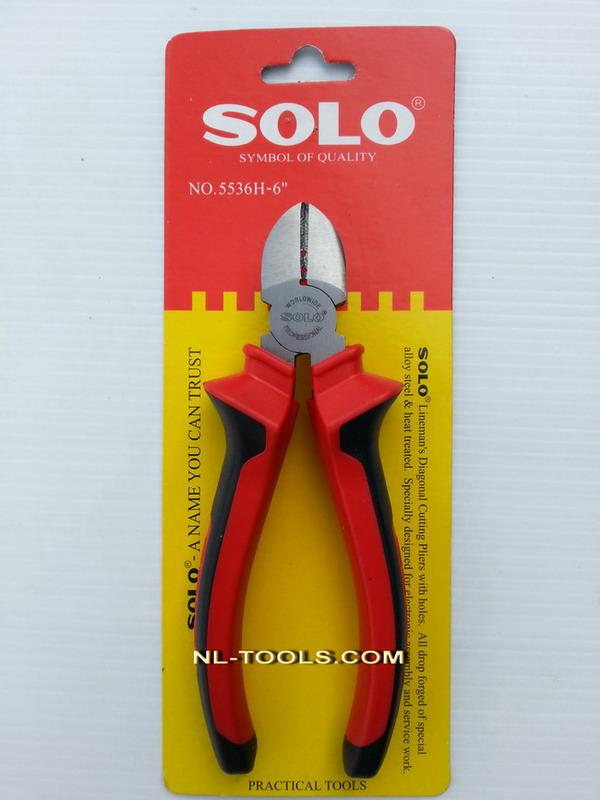 คีมปากตัด มีรู ด้ามแดง SOLO NO.5536H-6 นิ้ว(IM) (เครื่องมือช่าง)