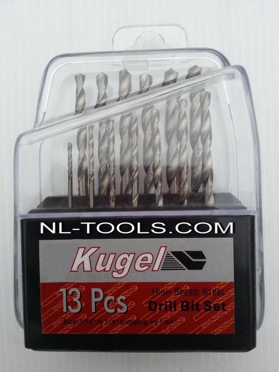 ดอกสว่านเจาะไม้เหล็ก KUGEL 13 ชิ้น/ชุด ขนาด 1/16-1/8 นิ้ว ผลิต จีน