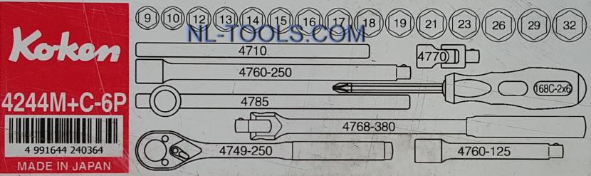 ชุดบล็อก,Koken 1/2 นิ้วหรือ 4 หุน,4244M+C,23ตัวชุด(เครื่องมือช่าง) 2