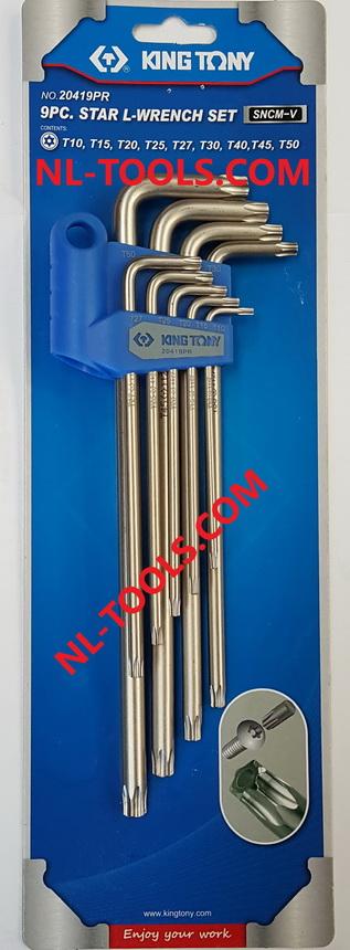 ประแจตัว L ท็อคยาวมีรู,Kingtony 20419PR 9ตัว/ชุด(OOM)(เครื่องมือช่าง)