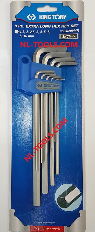 ประแจหกเหลี่ยมยาว,Kingtony 20209MR 9ตัว/ชุด(KDV)(เครื่องมือช่าง)