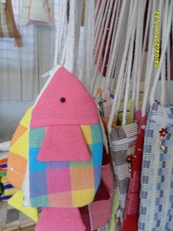 กระเป๋าผ้าฝ้ายรูปปลาและช้างขนาดเล็ก