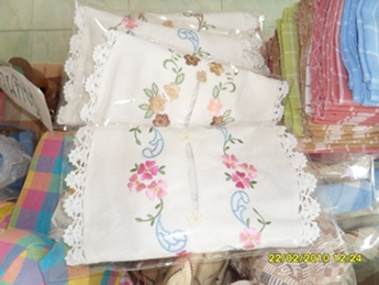 ผ้าหุ้มกล่องกระดาษใส่ทิชชูสี่เหลี่ยมสีขาวปักดอกถักโคเชร์