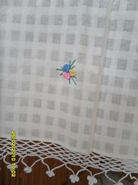 ผ้าม่านประตูผ้าฝ้ายปักดอกถักโคเชร์ 12