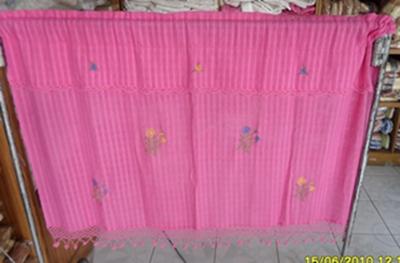 ผ้าม่านหน้าต่างผ้าฝ้ายปักดอกถักโครเชร์ครึ่งหน้าต่างแบบสอด 11