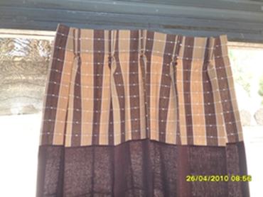 ผ้าม่านหน้าต่างผ้าฝ้ายทอมือแบบจีบ