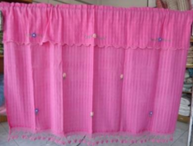 ผ้าม่านหน้าต่างผ้าฝ้ายปักดอกถักโครเชร์ครึ่งหน้าต่างแบบสอด 13