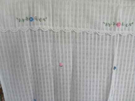 ผ้าม่านหน้าต่างผ้าฝ้ายปักดอกถักโครเชร์ครึ่งหน้าต่างแบบสอด 4