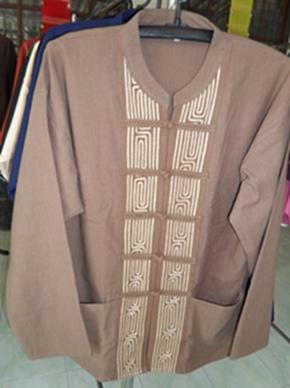 เสื้อผ้าฝ้ายคอจีนติดกระดุมจีนขอดติดแถบเชือก