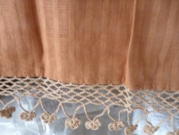 ผ้าม่านหน้าต่างผ้าฝ้ายปักดอกถักโครเชร์หัวผ้าม่านและชายผ้าม่านแบบสอด 44