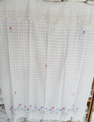 ผ้าม่านหน้าต่างผ้าฝ้ายปักดอกถักโครเชร์หัวผ้าม่านและชายผ้าม่านแบบสอด 5