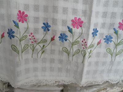ผ้าม่านหน้าต่างผ้าฝ้ายปักดอกถักโครเชร์หัวผ้าม่านและชายผ้าม่านแบบสอด 6