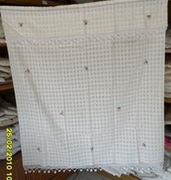 ผ้าม่านหน้าต่างผ้าฝ้ายปักดอกถักโครเชร์หัวผ้าม่านและชายผ้าม่านแบบสอด 15