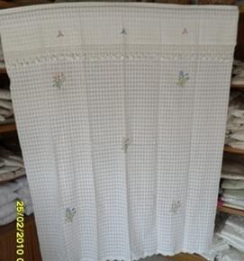 ผ้าม่านหน้าต่างผ้าฝ้ายปักดอกถักโครเชร์หัวผ้าม่านและชายผ้าม่านแบบสอด 11