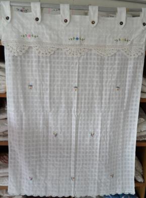 ผ้าม่านหน้าต่างผ้าฝ้ายปักดอกและหัว-ชายผ้าถักโคเชร์แบบคอกระเช้า 10