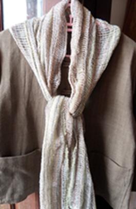 ผ้าพันคอผ้าฝ้ายทอมือลายตาข่าย