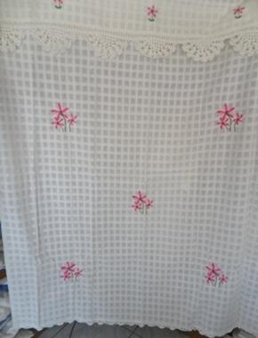 ผ้าม่านหน้าต่างผ้าฝ้ายปักดอกถักโครเชร์หัวผ้าม่านและชายผ้าม่านแบบสอด 35