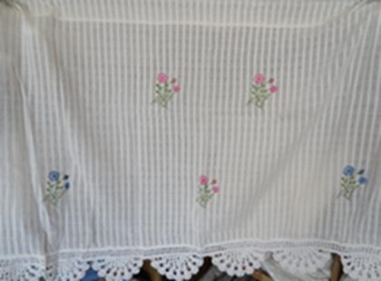 ผ้าม่านหน้าต่างผ้าฝ้ายปักดอกถักโครเชร์ครึ่งหน้าต่างแบบสอด