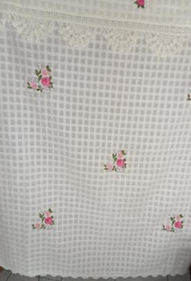 ผ้าม่านหน้าต่างผ้าฝ้ายปักดอกถักโครเชร์หัวผ้าม่านและชายผ้าม่านแบบสอด 3