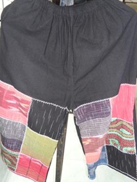 กางเกงผ้าฝ้ายลายตารางปักเดินเส้น