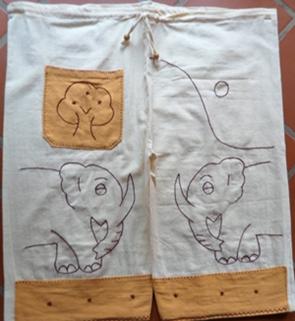 กางเกงผ้าฝ้ายปักรูปช้างขาสั้น