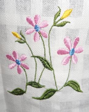 ผ้าม่านหน้าต่างผ้าฝ้ายปักดอกถักโครเชร์หัวผ้าม่านและชายผ้าม่านแบบสอด 1