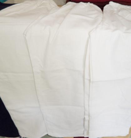 กางเกงผ้าฝ้ายสีขาวขายาว