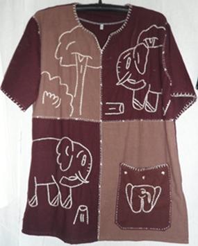 เสื้อผ้าฝ้ายปักลายช้าง