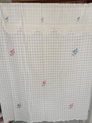 ผ้าม่านหน้าต่างผ้าฝ้ายปักดอกถักโครเชร์หัวผ้าม่านและชายผ้าม่านแบบสอด 32