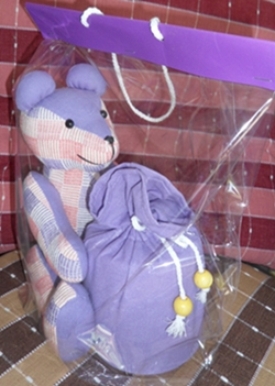 ผ้าหุ้มกล่องกระดาษทิชชูกลมตุ๊กตาหมีผ้าฝ้ายทอมือ 2