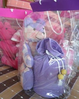 ผ้าหุ้มกล่องกระดาษทิชชูกลมตุ๊กตาหมีผ้าฝ้ายทอมือ 4