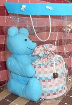 ผ้าหุ้มกล่องกระดาษทิชชูกลมตุ๊กตาหมีผ้าฝ้ายทอมือ
